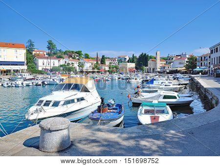 Harbor of Malinska on Krk Island at adriatic Sea,Kvarner,Croatia