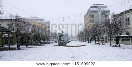 Cecina Marina Livorno Tuscany - snowfall in the seaside town Largo Fratelli Cairoli