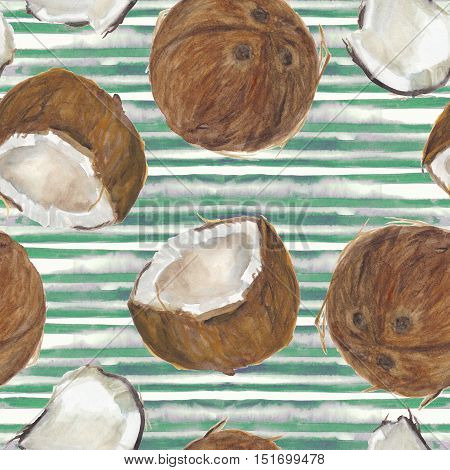 Watercolor painting seamless pattern with coconuts on stripes background