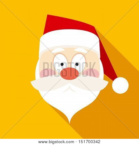 Santa Claus Face in Flat Style with Long Shadows on Yellow Background