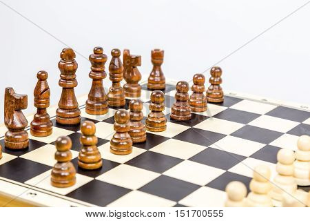 Close up of chess game with shallow depth of field.