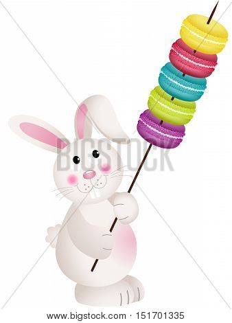 Scalable vectorial image representing a cute bunny carries macaroons, isolated on white.