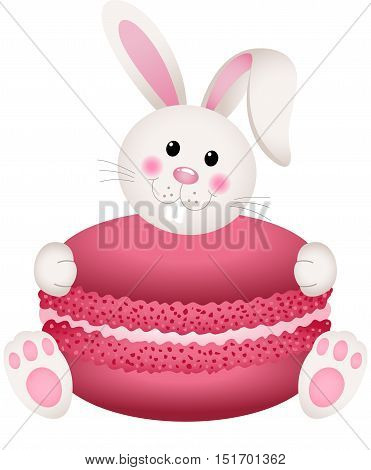 Scalable vectorial image representing a cute bunny holding macaroon, isolated on white.