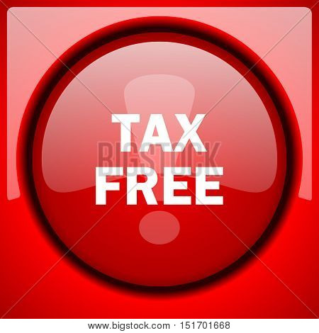 tax free red icon plastic glossy button