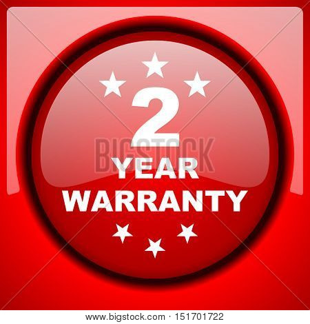 warranty guarantee 2 year red icon plastic glossy button