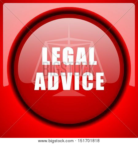 legal advice red icon plastic glossy button