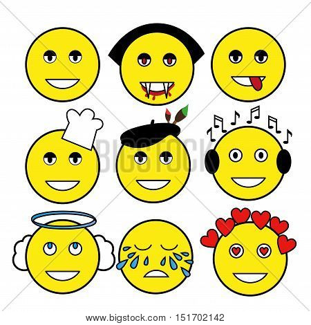 set of different emoticons: vampire artist chef angel music lover smile tears love.