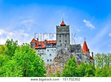 Beautiful, medieval Dracula castle of Transylvania in Bran town, Romania