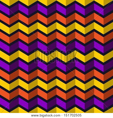Seamless chevron pattern. Colorful abstract background for Halloween design. Vector illustration.