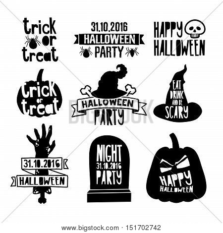 Set Of Vintage Happy Halloween Badges and Labels. Halloween logo decoration with pumpkin zombie hand witch hat and spider. Sign for halloween party