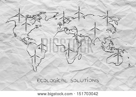 Map Of The World With Wind Turbine All Over, Green Economy