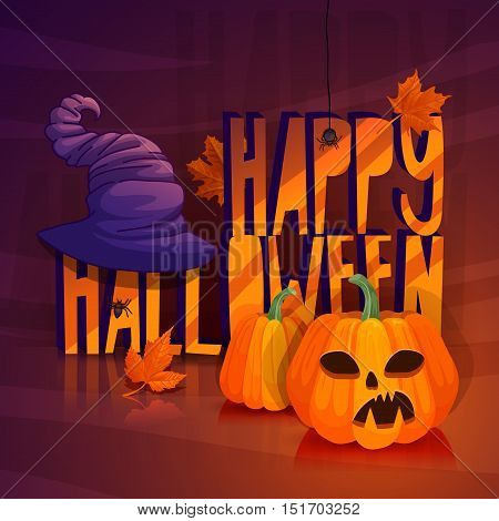 Design a poster for Halloween. Autumn banner for a happy Halloween with maple leaves. Illustration with a witch hat scary jack pumpkin and spiders. Vector