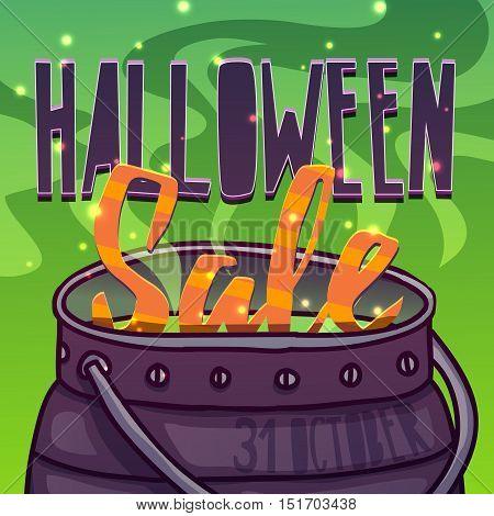 Template design greeting card flyer poster for Happy Halloween discount offer . Decor with witch cauldron and potion. Banner Halloween sale. Vector