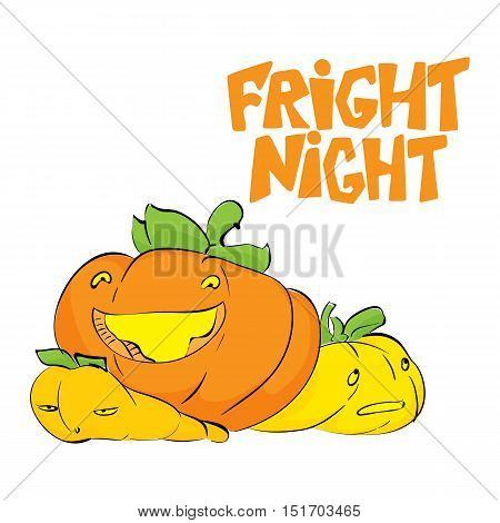 Fright night. Halloween party hand drawn lettering and sketch card with cute pumpkins. Fun colorful brush ink typography greeting card, illustration for t-shirt print, banner, flyer, poster design