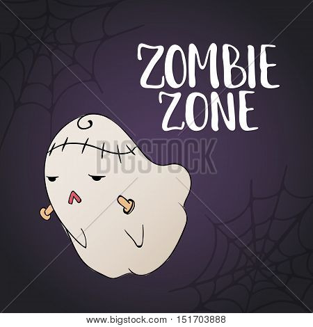 Zombie Zone - Halloween party hand drawn lettering and sketch card with cute zombie monster and spider web. Fun illustration for t-shirt print, banner, flyer, poster design
