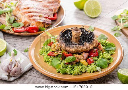Grilled Pork Chops, Risotto With Portobello