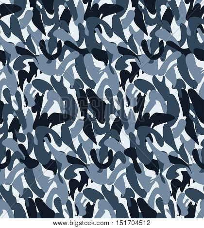 Abstract Military Blue Camouflage Background Made of Splash. Seamless Camo Dark Pattern for Army Clothing.