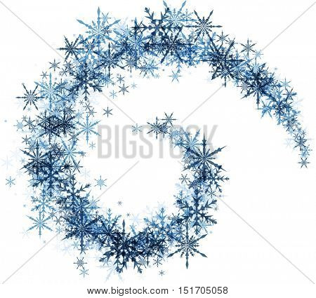 White winter background with spiral of blue snowflakes. Vector illustration.