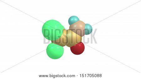 Trichloroethanamide molecule on white background. 3d illustration of molecule. Horizontal