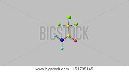 Trichloroethanamide molecule on grey background. 3d illustration of molecule. Horizontal.