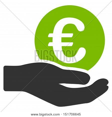 Euro Salary icon. Vector style is bicolor flat iconic symbol, eco green and gray colors, white background.