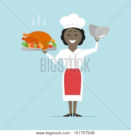 Chef African American woman holding a hot dish. Turkey roast. Vector flat