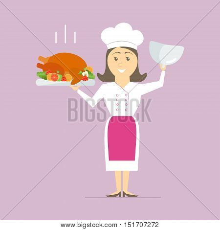 A female chef in the kitchen holding a hot dish. Turkey on the grill with vegetables. vector