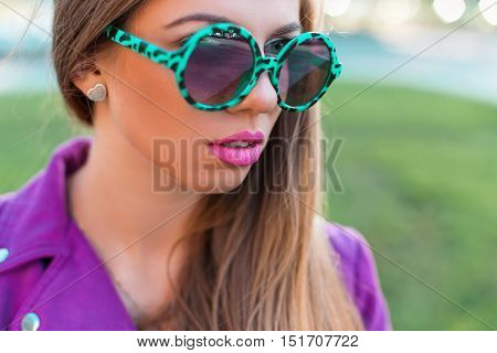 Stylish Glamorous Girl In Sunglasses Closeup On A Sunny Day
