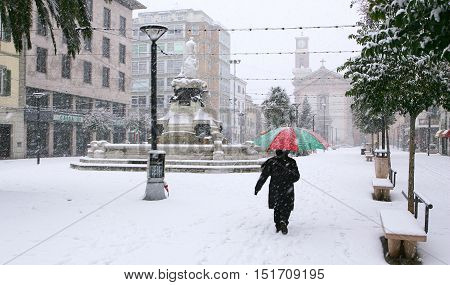 Cecina Livorno Tuscany - snowfall in the city Piazza Guerrazzi with the Town Hall the church and the fountain of Maremma Thirsty