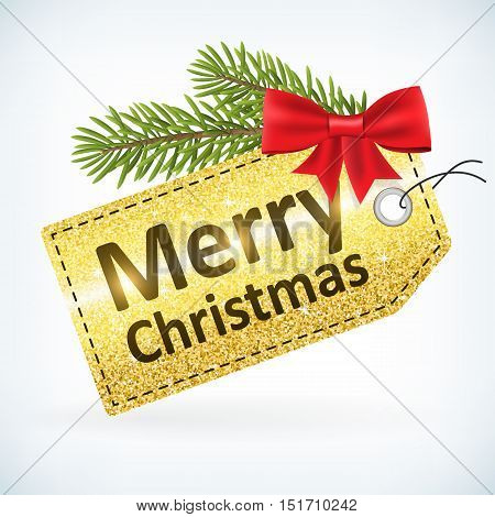 Christmas golden glitter price vector merry christmas label with bow and twig .Isolated from background. layered.