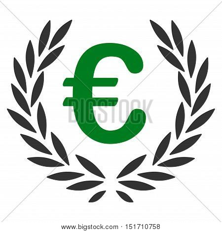 Euro Laurel Wreath icon. Vector style is bicolor flat iconic symbol, green and gray colors, white background.