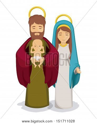 Mary and joseph with baby jesus icon. Holy family and merry christmas season theme. Colorful design. Vector illustration