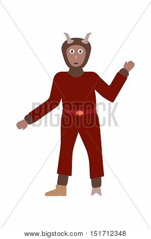 Devil In Dark Red Dress With Brown Fur