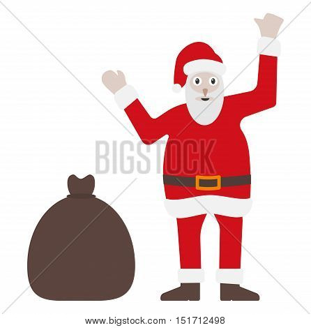 Santa Claus In Classic Red Dress With Bag