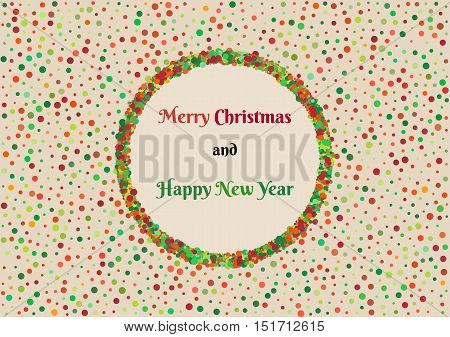 Background With Color Dots And Christmas Wish