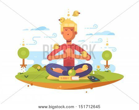Man meditating in park on lawn to music. Vector illustration
