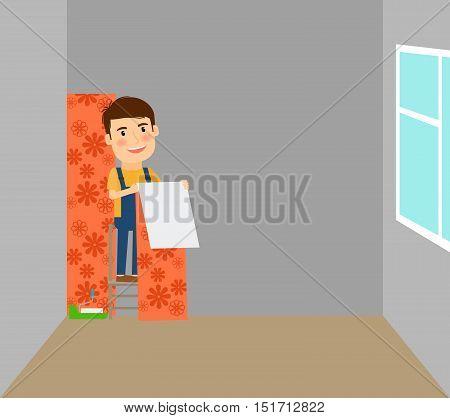 Man making repairs in room, putting on wallpaper. Vector illustration