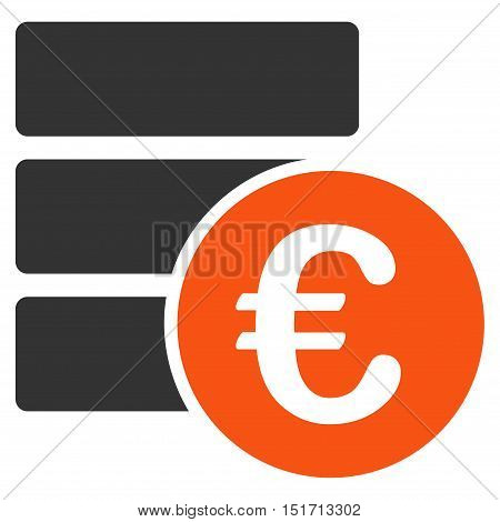 Euro Database icon. Vector style is bicolor flat iconic symbol, orange and gray colors, white background.
