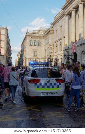 Barcelona, Spain - 24 September 2016: Guardia Urbana police car in Barcelona. Police car of Guardia Urbana Policia in the center of Barcelona Spain.
