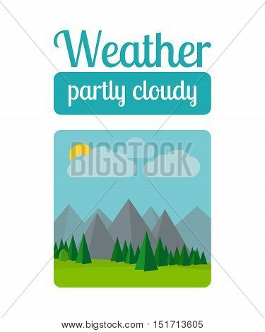 Weather illustration in flat style vector. Partly cloudy