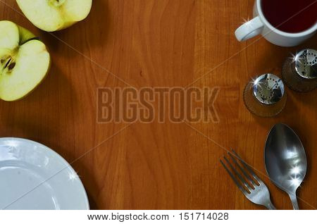 Some kitchen appliances on wood background with space for text. Background for recipes and food lists