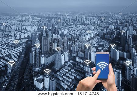 Wifi icon and Paris city with network connection concept Shanghai smart city and wireless communication network abstract image visual internet of things.