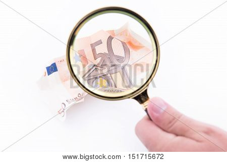 Fifty Euro Banknote With Magnifying Glass