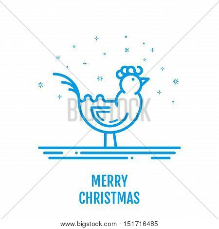 Merry Christmas icon concept with rooster in outline style. New year design for banner web graphics wallpaper page background invitation greeting card flyer poster template. Vector Illustration.