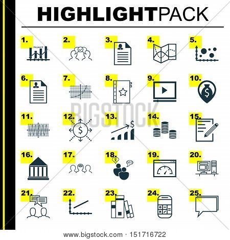 Set Of 25 Universal Icons On Seo Brainstorm, Road Map, Line Up And More Topics. Vector Icon Set Incl