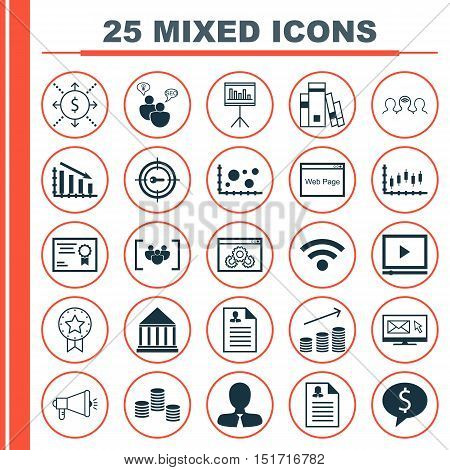 Set Of 25 Universal Icons On Coins Growth, Wireless, Curriculum Vitae And More Topics. Vector Icon S