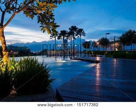 Swimming pool blue sky sunset at Butterworth, Penang, Malaysia
