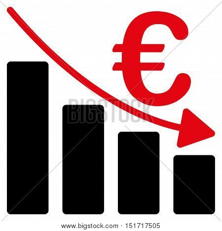 Euro Recession Bar Chart icon. Vector style is bicolor flat iconic symbol, intensive red and black colors, white background.
