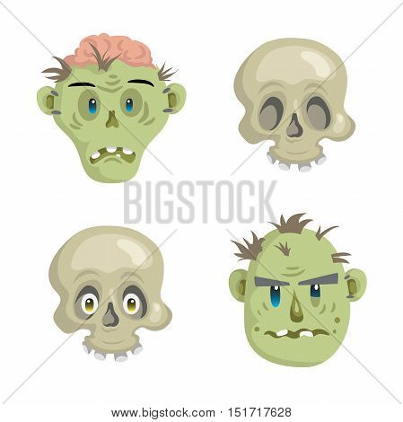 Cartoon scull and zomies mask set. Trendy simple gradient halloween party vector icon.