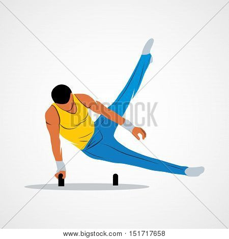 Abstract gymnast on projectile gymnastics on horseback on a white background. Vector illustration.